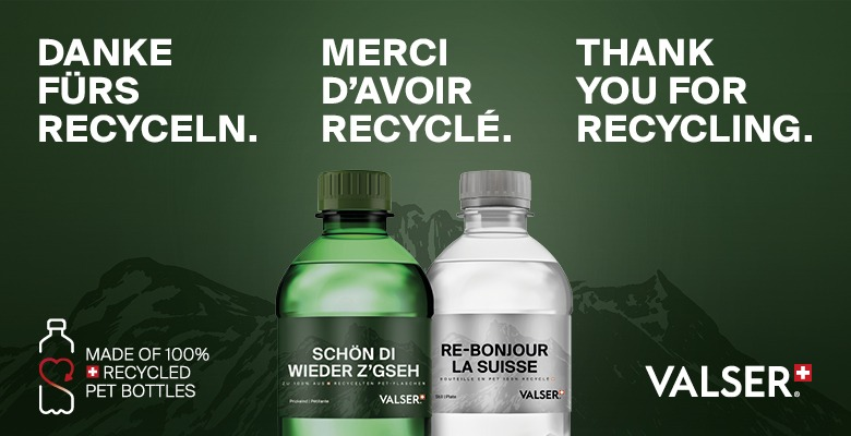 VALSER bottles made from 100% recycled PET